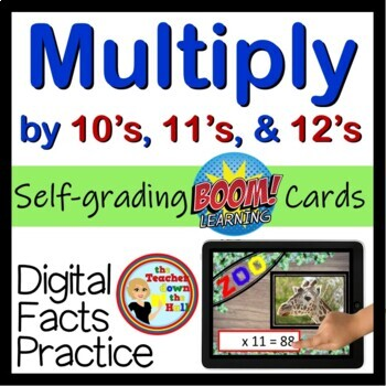 Multiply by 10's, 11's, and 12's - Digital  BOOM Cards - 48 Self-checking cards!
