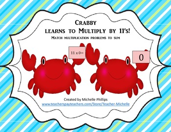 Multiply by 11's - Crabby Learns to multiply by 11's!