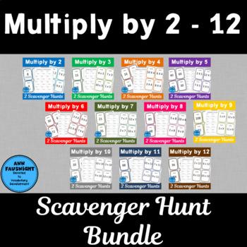 Multiply by 2, 3, 4, 5, 6, 7, 8, 9, 10, 11, & 12 Scavenger
