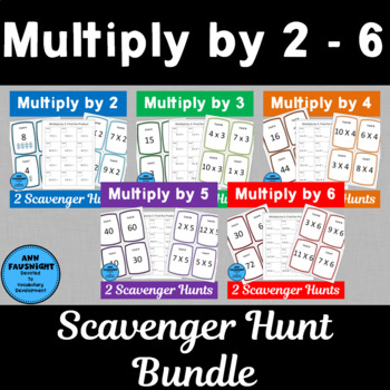 Multiply by 2, 3, 4, 5, and 6 Scavenger Hunts Bundle with Matching Centers