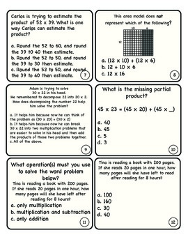 Multiply by 2 Digit Numbers Quiz Cards
