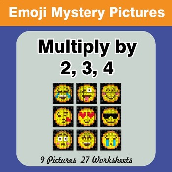 Multiply by 2 / Multiply by 3 / Multiply by 4 - Emoji Math Mystery Pictures