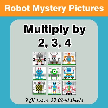 Multiply by 2 / Multiply by 3 / Multiply by 4 - Math Mystery Pictures