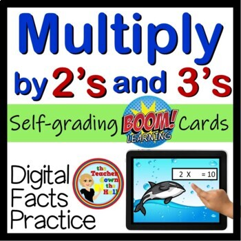 Multiply by 2's and 3's - Digital Practice BOOM Cards - 48 Self-checking cards!