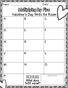 Multiply by 5 Activity: V-Day Write the Room *FREEBIE*