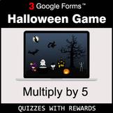 Multiply by 5 | Halloween Decoration Game | Google Forms | Digital Rewards