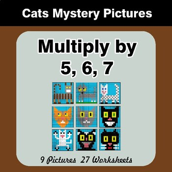 Multiply by 5 / Multiply by 6 / Multiply by 7 - Math Mystery Pictures