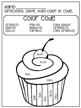 Multiply by 5 and 10 color code