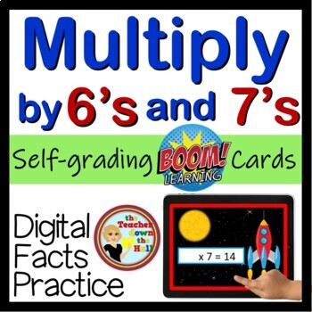 Multiply by 6's and 7's - Digital Practice BOOM Cards - 48 Self-checking cards!