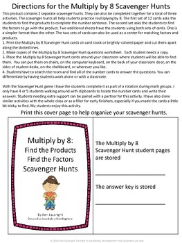 Multiply by 7, 8, 9, 10, 11, and 12 Scavenger Hunts Bundle with Matching Centers