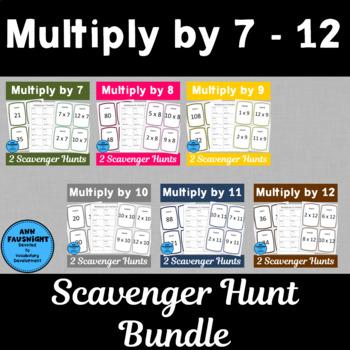 Multiply by 7, 8, 9, 10, 11, and 12 Scavenger Hunts Bundle