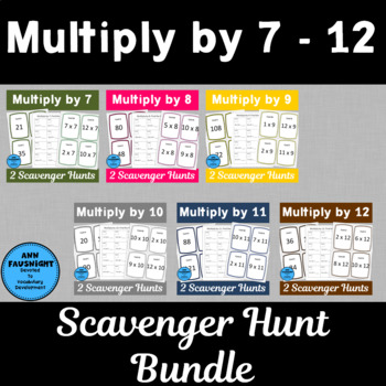 Multiply by 7, 8, 9, 10, 11, and 12 Scavenger Hunts Bundle