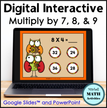 Multiply by 7, 8, and 9 Interactive PowerPoint - Fall Edition