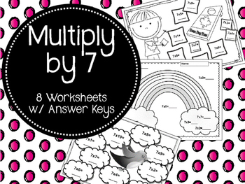 Multiply by 7. Seven Times Tables. Mutipication Review Worksheets.