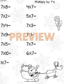 Multiply by 7 Winter Worksheet
