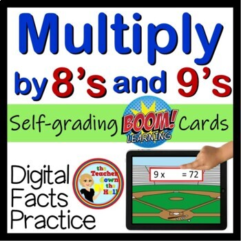 Multiply by 8's and 9's - Digital Practice BOOM Cards - 48 Self-checking cards!