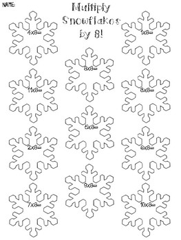 Multiply by 8 worksheet ** winter edition***