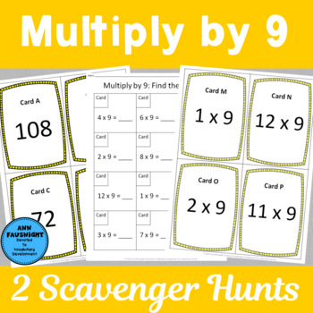 Multiply by 9 Scavenger Hunts and matching Center