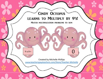 Multiply by 9's - Cindy Octopus Learns to multiply by 9's!