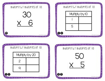 Multiply by Multiples of 10 Task Cards for 3rd Grade