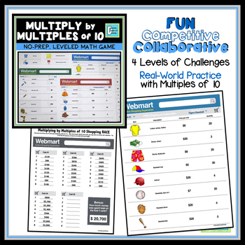 Multiply by Multiples of 10 Shopping RACE