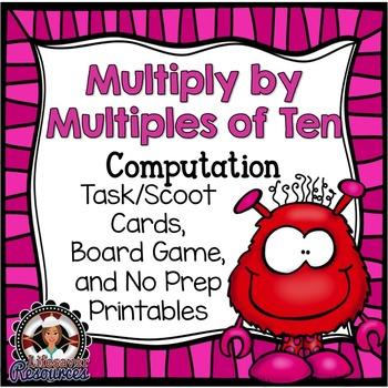 Multiply by Multiples of Ten Game - 3.NBT.3  Computation Task Cards Assessment