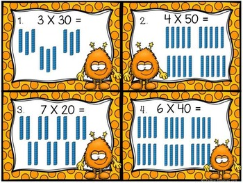 Multiply by Multiples of Ten Picture Models Game and Printable