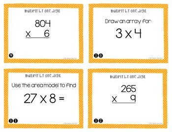 Multiply by One Digit Task Cards for 4th Grade