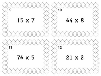 Multiply by One-Digit Numbers Task Cards