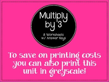 Multiply by Three. Worksheets. Times Tables. 3. Multiplication