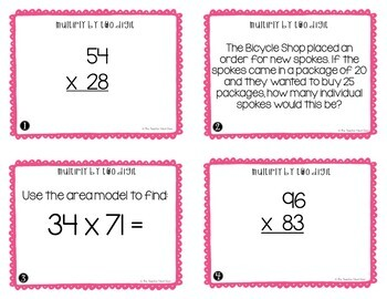 4th Grade Multiply by Two Digits Task Cards | Multiply by Two Digits Center Game