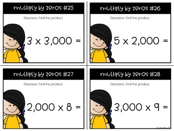 Multiply by Zeros Task Cards