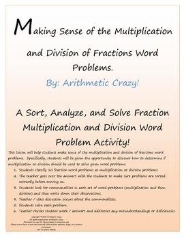 Multiply or Divide? How do you decide? A Sort, Analyze & Solve Fraction Activity