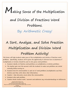 Multiply or Divide? How do you decide? A Sort, Analyze & Solve Fraction Activity
