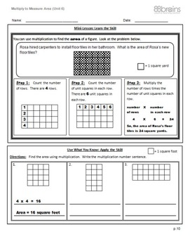Multiply to Measure Area pgs. 10 & 11 (Common Core)
