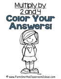 3rd Grade Go Math Chapter Four 4.1 Color By Numbers Multiply with 2 and 4