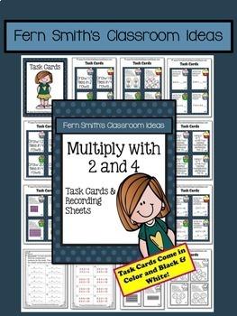 3rd Grade Go Math Multiply 2 & 4 Task Cards Center Games Color By Number Bundle