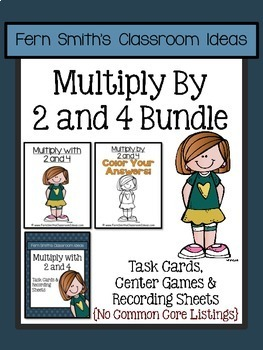 Multiply with 2 and 4 Task Cards Center Games and Color By