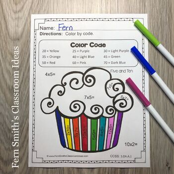 Color By Numbers - Multiplication with 5 and 10 - Color By Code Printables