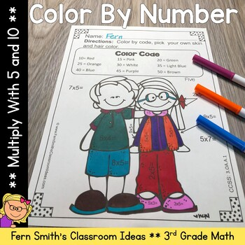 3rd Grade Go Math 4.2 Color By Numbers Multiply with 5 and 10