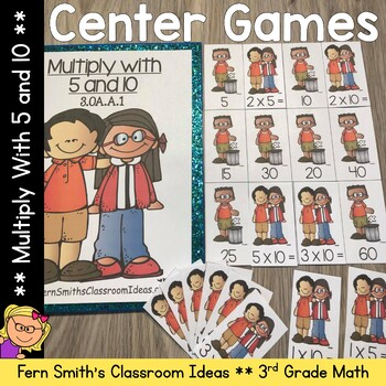 3rd Grade Go Math 4.2 Multiply With 5 and 10 Center Games and Printables