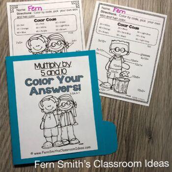 3rd Grade Go Math Multiply 5 & 10 Task Cards Center Games Color By Number Bundle