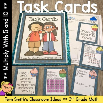 Multiplication with 5 and 10 Task Cards with Common Core