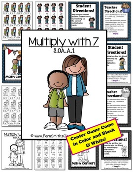 3rd Grade Go Math 4.5 Multiply with 7 Center and Printables