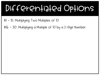 Multiply with Multiples of Ten Task Cards
