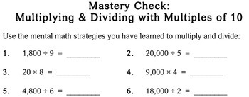 Multiply/Divide by Multiples of 10, 3rd grade - Individualized Math - worksheets