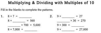 Multiply/Divide by Multiples of 10, 3rd grade - worksheets - Individualized Math