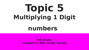 Multiplying 1 Digit Numbers (Topic 5 Pearson)