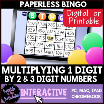 Multiplying 1-Digit by 2 & 3 Digit Numbers Interactive Bingo Review Game