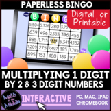 Multiplying by 1-Digit Numbers Interactive Bingo Review Game - Distance Learning